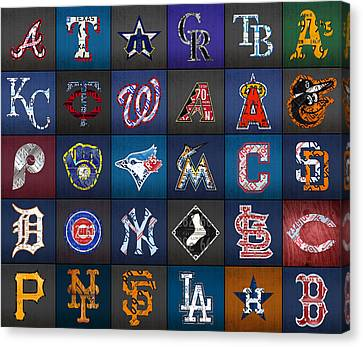 Play Ball Recycled Vintage Baseball Team Logo License Plate Art Canvas Print by Design Turnpike