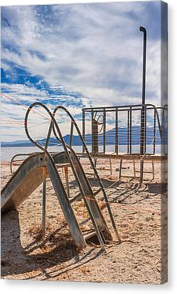 Play Time Is Over Slide Playground Canvas Print by Scott Campbell