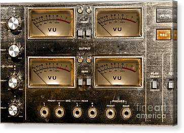 Playback Recording Vu Meters Grunge Canvas Print by Gunter Nezhoda