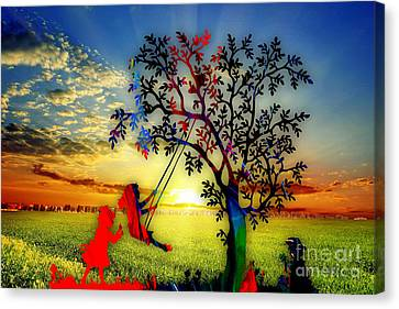 Playful At Sunset Canvas Print by Marvin Blaine