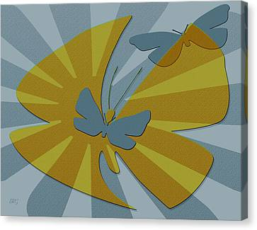 Playful Butterflies In Blue And Yellow Canvas Print by Ben and Raisa Gertsberg