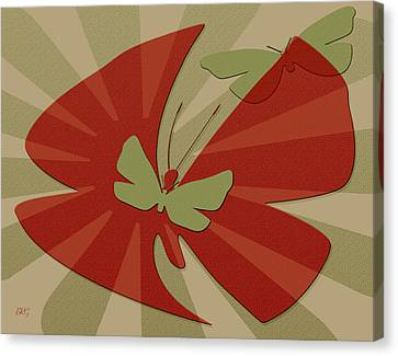 Playful Butterflies In Red And Green Canvas Print by Ben and Raisa Gertsberg