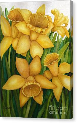 Playful Daffodils Canvas Print by Vikki Wicks