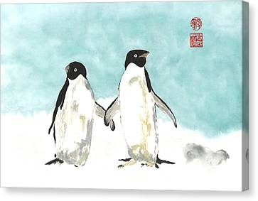 Playful Penguins  Canvas Print