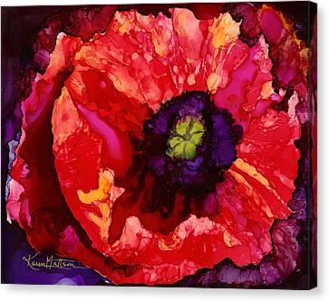 Playful Poppy Canvas Print by Karen Mattson