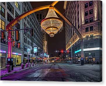 Canvas Print featuring the photograph Playhouse Square Chandelier  by Brent Durken