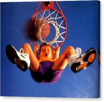 Playing Basketball Canvas Print by Lanjee Chee