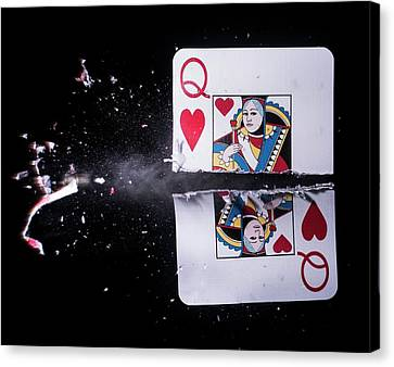 Playing Card Trick Shot Canvas Print by Herra Kuulapaa � Precires