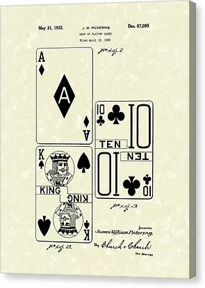 Playing Cards 1869 Patent Art Canvas Print by Prior Art Design