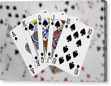 Playing Cards - Royal Flush Canvas Print by Natalie Kinnear