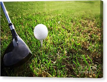 Playing Golf. Club And Ball On Tee Canvas Print by Michal Bednarek