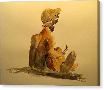 Playing Guitar Sketch Canvas Print by Juan  Bosco