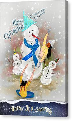Playing In Snowtime Canvas Print by Dumindu Shanaka