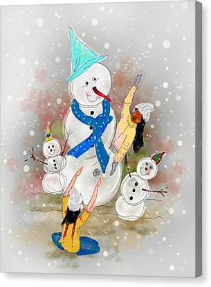 Playing In The Snow Canvas Print by Dumindu Shanaka