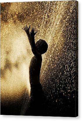Playing In The Sprinkler Canvas Print by Con Tanasiuk