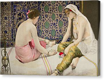 Harem Canvas Print - Playing Knucklebones by Paul Alexander Alfred Leroy