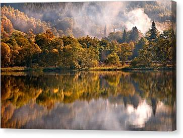 Playing Mirror. Loch Achray. Scotland Canvas Print by Jenny Rainbow