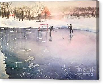 Playing On Ice Canvas Print