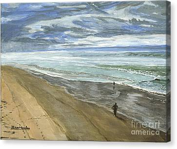 Canvas Print featuring the painting Playing On The Oregon Coast by Ian Donley
