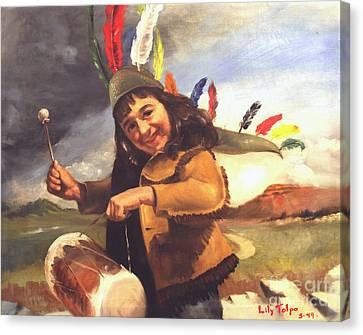 Playing Pow Wow Canvas Print by Art By Tolpo Collection