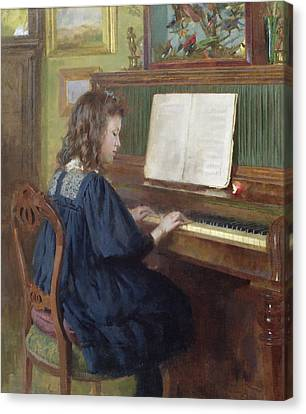 Playing The Piano Canvas Print by Ernest Higgins Rigg