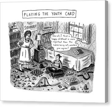 Playing The Youth Card Canvas Print by Roz Chast