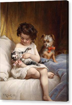 Playing With The Cat Canvas Print by Carl Reichert
