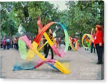 Beijing Canvas Print - Playing With The Ribbons by George Atsametakis