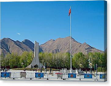 Plaza Across From Potala Palace Which Replaced A Natural Lake-tibet Canvas Print by Ruth Hager