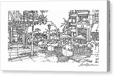 Canvas Print featuring the drawing Plaza by Andrew Drozdowicz