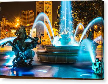 Plaza Blue Fountain Canvas Print by Steven Bateson