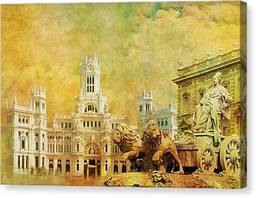 Plaza De Cibeles City Hall Madrid Canvas Print by Catf