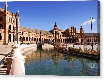 Plaza De Espana - Seville Spain  Canvas Print by Andrea Mazzocchetti