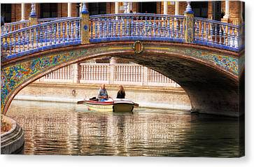 Plaza De Espana Rowboats Canvas Print by Joan Carroll
