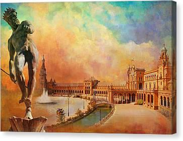 Plaza De Espana Seville Canvas Print by Catf