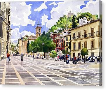 Plaza Nueva And Santa Ana Church Granada Canvas Print by Margaret Merry