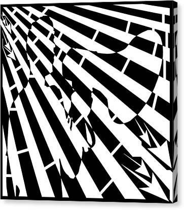Please Step Away Maze  Canvas Print by Yonatan Frimer Maze Artist