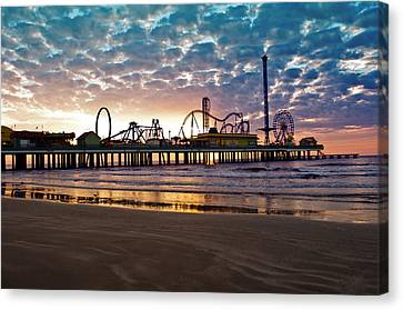 Pleasure Pier Galveston At Dawn Canvas Print by John Collins