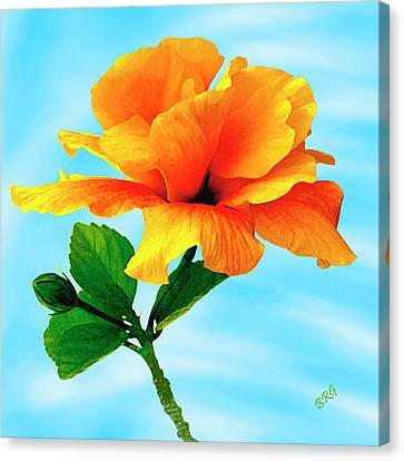 Pleasure - Yellow Double Hibiscus Canvas Print by Ben and Raisa Gertsberg