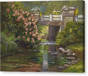 Plein Air - Bridge And Stream Canvas Print by Lucie Bilodeau