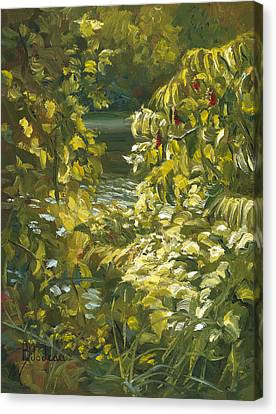 Plein Air - By The Chicopee River Canvas Print by Lucie Bilodeau