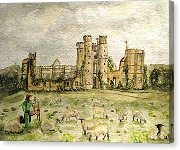 Plein Air Painting At Cowdray House Sussex Canvas Print by Angela Davies