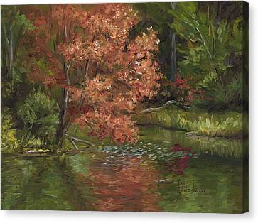 Plein Air - Red Tree Canvas Print by Lucie Bilodeau