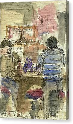Plein Air Sketchbook. Stix Billiard Room. Ventura California. June 30. 2012. Boys At The Bar Canvas Print by Cathy Peterson