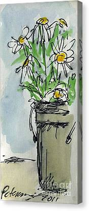 Plein Air Sketchbook. Ventura California 2011.  Tall Bucket Of Daisies From My Backyard Canvas Print by Cathy Peterson