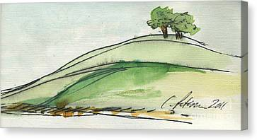 Plein Air Sketchbook. Ventura California 2011.  Two Trees On A Hill Canvas Print by Cathy Peterson