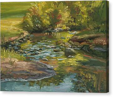 Plein Air - Stream In Forest Park Canvas Print by Lucie Bilodeau