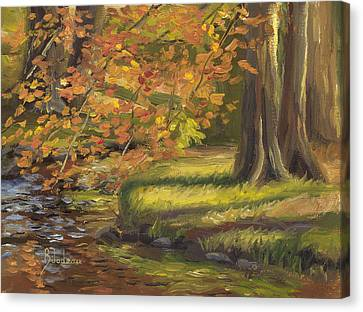 New England Autumn Canvas Print - Plein Air - Trees And Stream by Lucie Bilodeau