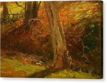 Plein Air Winter Trunks Canvas Print