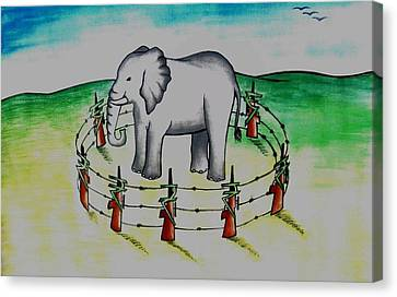 Plight Of Elephants Canvas Print by Tanmay Singh